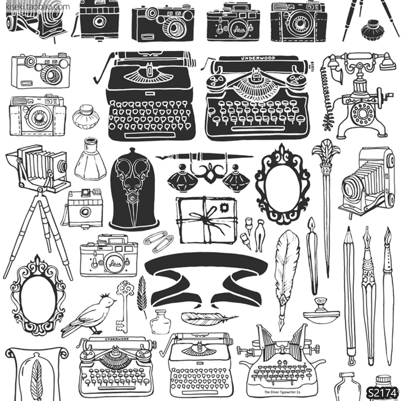 老式怀旧文艺复古物品照相机电话机黑白线稿PNG免抠ai矢量图素材
