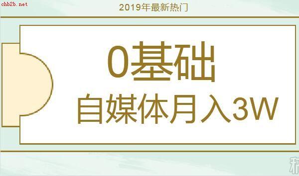 2019年0基础自媒体实操月入3万(共37节视频课)